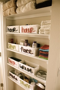 organizing bathroom closet